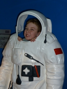 Callum tries out being an astronaut