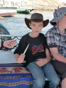 Declan shows off his bone knife in Aswan
