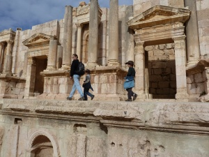 Walking the main street of Jerash