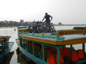 Bikes on a boat.