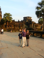On the causeway to Angkor Wat.
