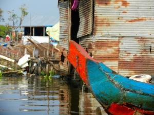 Boat at Floating village on Tonle Sap.