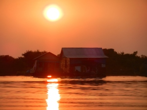 Sunset over Tonle Sap.