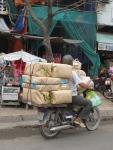 Loaded motorbike in Vietnam.