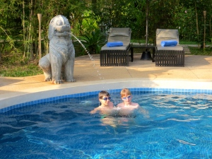 In the pool at Siem Reap.